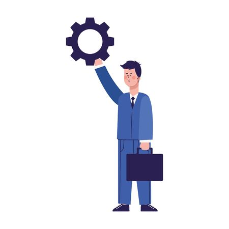 businessman holding up a gear wheel icon over white background, colorful design, vector illustration