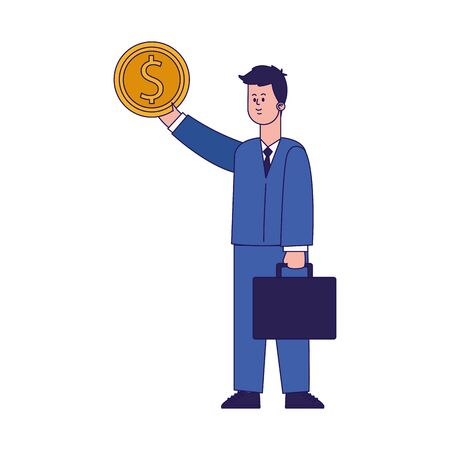 cartoon businessman with money coin and portfolio over white background, colorful design, vector illustration