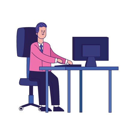 happy businessman working at office desk with computer over white background, colorful design, vector illustration