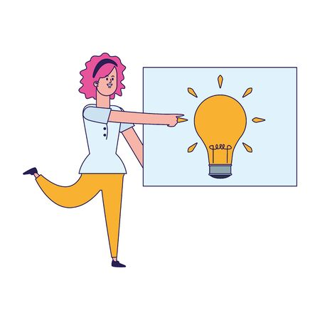 cartoon woman with board with bulb light icon over white background, vector illustration