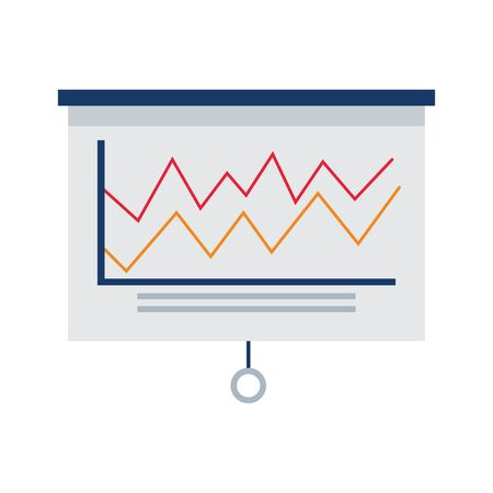 board with graphic chart icon over white background, colorful design, vector illustration Banque d'images - 138468564
