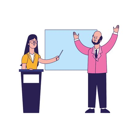 cartoon businessman and woman on tribune pointing a board over white background, vector illustration
