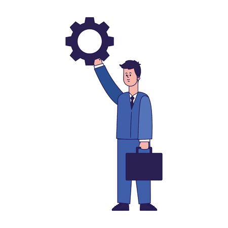 businessman holding up a gear wheel icon over white background, vector illustration