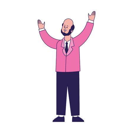 cartoon businessman with arms up over white background, vector illustration