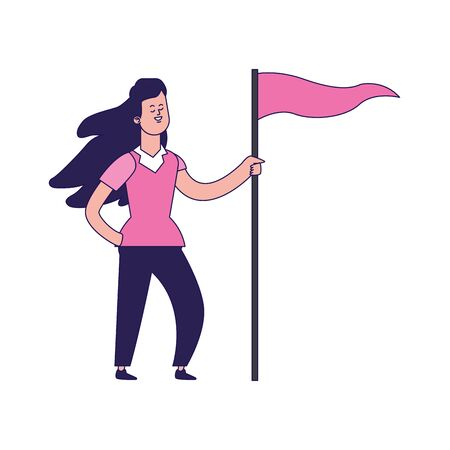 cartoon woman with pink flag icon over white background, vector illustration