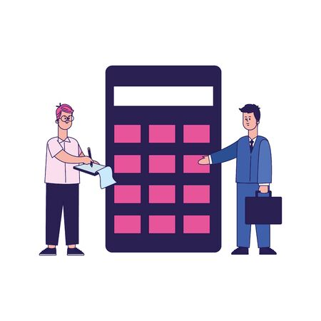 businessman and man standing next to a big calculator over white background, colorful design, vector illustration