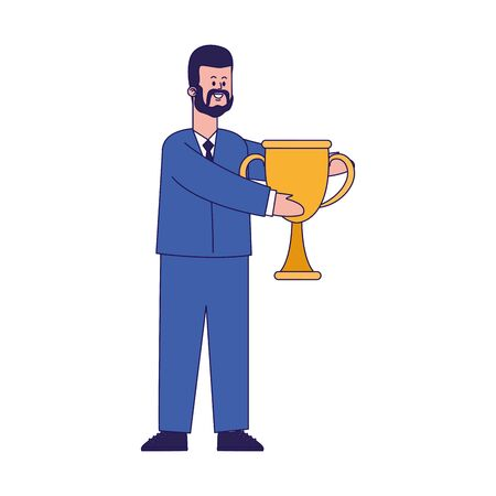 cartoon businessman holding a trophy cup over white background, colorful design, vector illustration