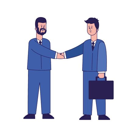 cartoon businessmen shaking hands over white background, colorful design, vector illustration 일러스트