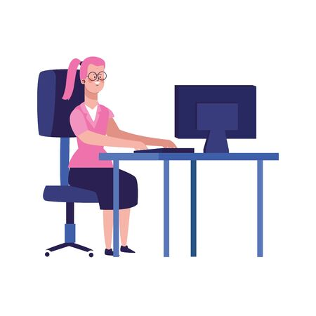 cartoon woman working on office desk with computer over white background, vector illustration