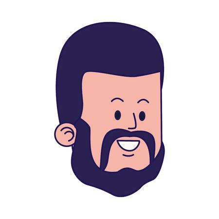 cartoon man face with beard over white background, colorful designvector illustration
