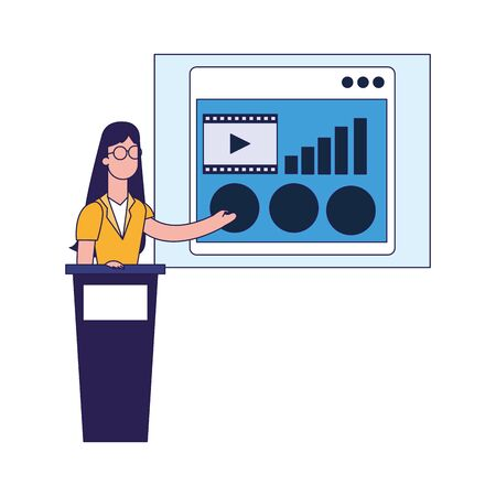 woman on tribune pointing a board over white background, vector illustration