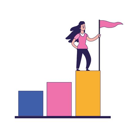 cartoon woman holding a flag on top of graphic bar chart over white background, colorful design, vector illustration
