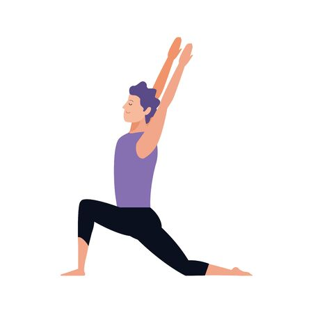 happy man doing yoga icon over white background, vector illustration Banco de Imagens - 138471403