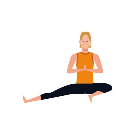 happy man doing yoga icon over white background, vector illustration Illustration