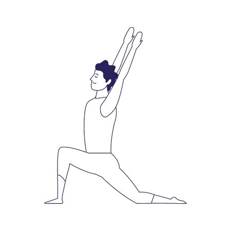 happy man doing yoga icon over white background, flat design, vector illustration