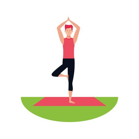 man doing yoga outdoors icon over white background, vector illustration