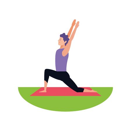 relaxed man doing yoga icon over white background, vector illustration Illustration