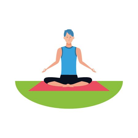 Relaxed man practicing yoga over white background, vector illustration Ilustração