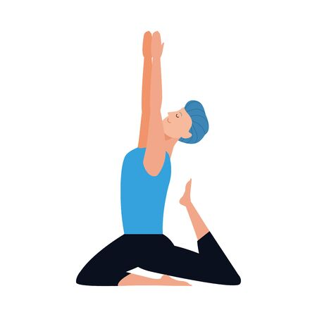 young man doing yoga icon over white background, vector illustration Ilustração