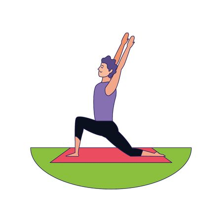relaxed man doing yoga icon over white background, colorful design, vector illustration
