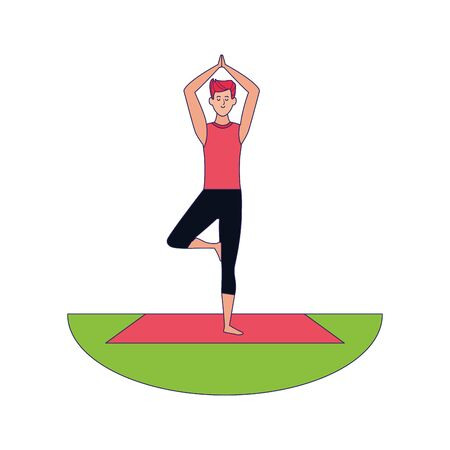 man doing yoga outdoors icon over white background, colorful design, vector illustration Ilustração