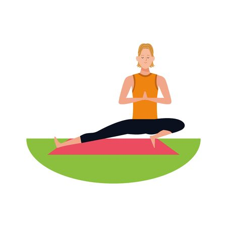 man doing yoga on mat outdoors iover white background, vector illustration Ilustração
