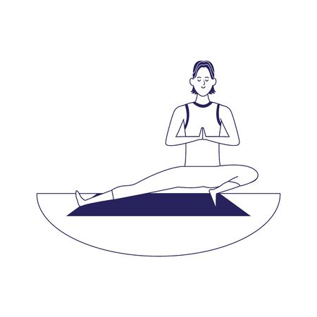 man doing yoga on mat outdoors iover white background, flat design, vector illustration