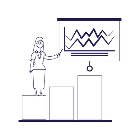 graphic bar chart with woman pointing a board over white background, flat design, vector illustration