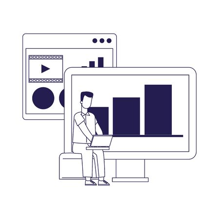 computer and man using a laptop computer over white background, flat design, vector illustration