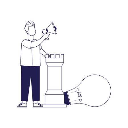 cartoon man with megaphone, rook piece and big bulb light over white background, flat design, vector illustration
