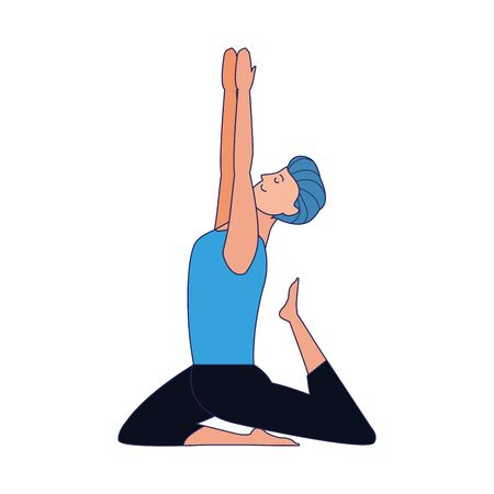 young man doing yoga icon over white background, colorful design, vector illustration Ilustração