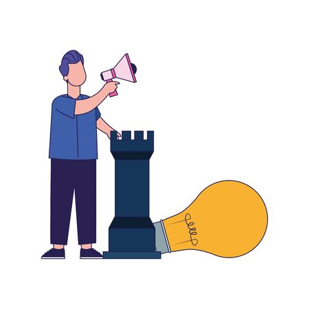 cartoon man with megaphone, rook piece and big bulb light over white background, vector illustration