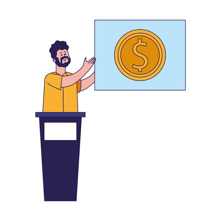 cartoon man on tribune showing a board with money coin icon over white background, vector illustration