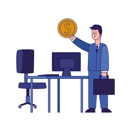 cartoon businessman holding a money coin and office desk with computer over white background, colorful design, vector illustration