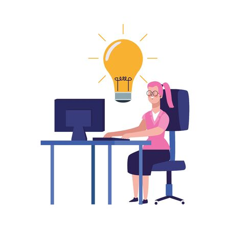 cartoon woman working on office desk with big bulb over white background, vector illustration 일러스트