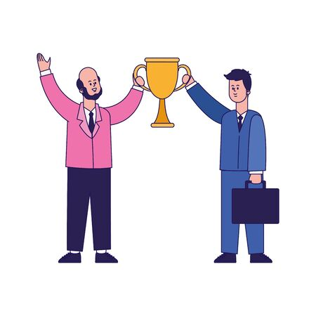 cartoon happy businessmen holding a trophy cup over white background, colorful design, vector illustration