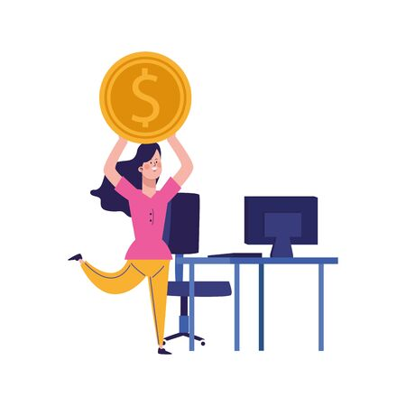 happy woman with money coin and office desk with computer around over white background, colorful design, vector illustration