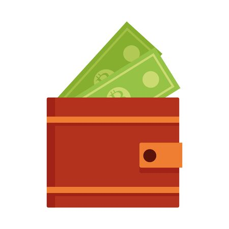 Bills inside wallet design, Money finance commerce market payment invest and buy theme Vector illustration
