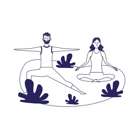 happy couple doing yoga outdoor over white background, flat design vector illustration