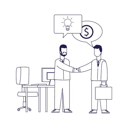 cartoon businessmen shaking hands at office over white background, flat design, vector illustration