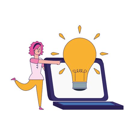 cartoon woman and laptop computer with big bulb light icon over white background, colorful design, vector illustration