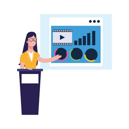 woman on tribune pointing a board over white background, colorful design, vector illustration