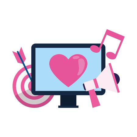 computer with target and megaphone over white background, colorful design, vector illustration Ilustracja