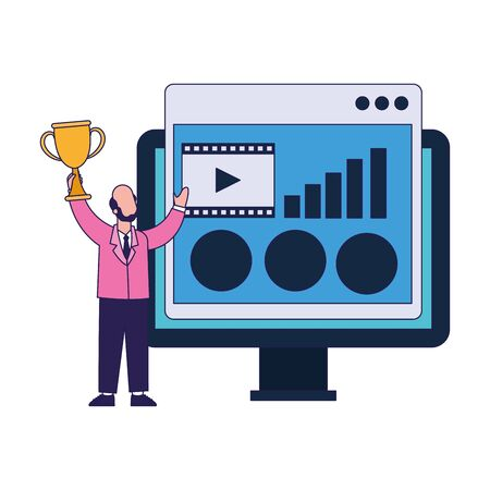 computer monitor and businessman holding a trophy cup over white background, vector illustration
