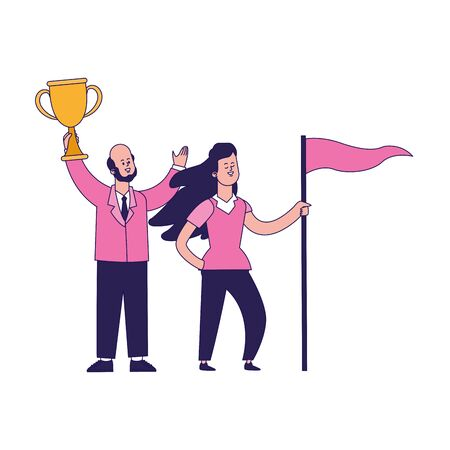 cartoon happy man holding a trophy and girl holding a flag over white background, vector illustration 일러스트