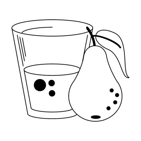 Pear juice cup with fruit vector illustration graphic design Çizim