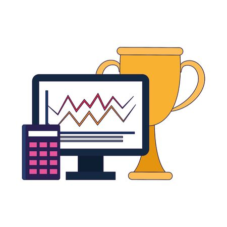 trophy cup with computer and calculator over white background, vector illustration Ilustracja