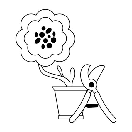 Gardening plants and tools flower in pot with scissors Designe
