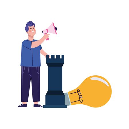 cartoon man with megaphone, rook piece and big bulb light over white background, colorful design, vector illustration