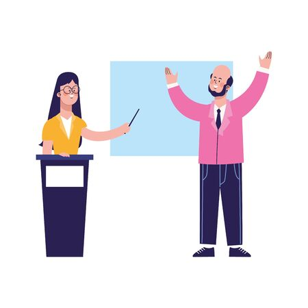 cartoon businessman and woman on tribune pointing a board over white background, colorful design, vector illustration